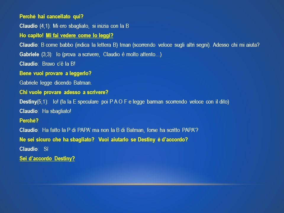 Perché hai cancellato qui? Claudio (4;1): Mi ero sbagliato, si inizia con la B Ho capito! Mi fai vedere come lo leggi? Claudio : B come babbo (indica