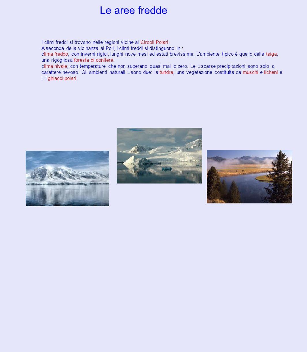 Le aree fredde I climi freddi si trovano nelle regioni vicine ai Circoli Polari. A seconda della vicinanza ai Poli, i climi freddi si distinguono in :