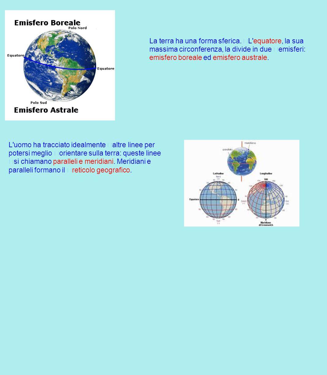 La terra ha una forma sferica. L'equatore, la sua massima circonferenza, la divide in due emisferi: emisfero boreale ed emisfero australe. L'uomo ha t