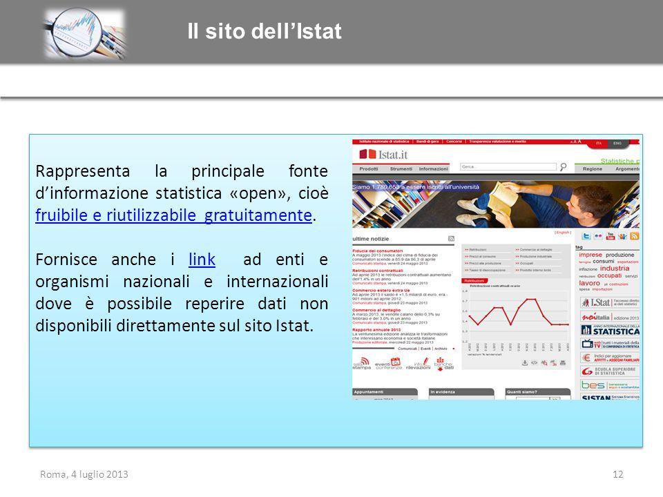 Il sito dellIstat Rappresenta la principale fonte dinformazione statistica «open», cioè fruibile e riutilizzabile gratuitamente. fruibile e riutilizza