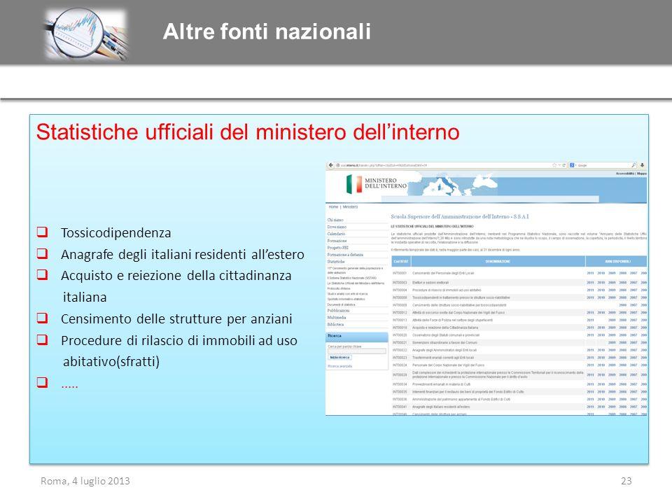 Statistiche ufficiali del ministero dellinterno Tossicodipendenza Anagrafe degli italiani residenti allestero Acquisto e reiezione della cittadinanza