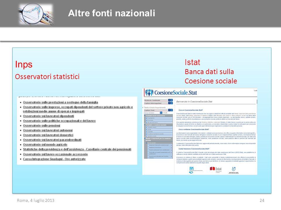 Inps Osservatori statistici Inps Osservatori statistici Altre fonti nazionali Roma, 4 luglio 201324 Istat Banca dati sulla Coesione sociale