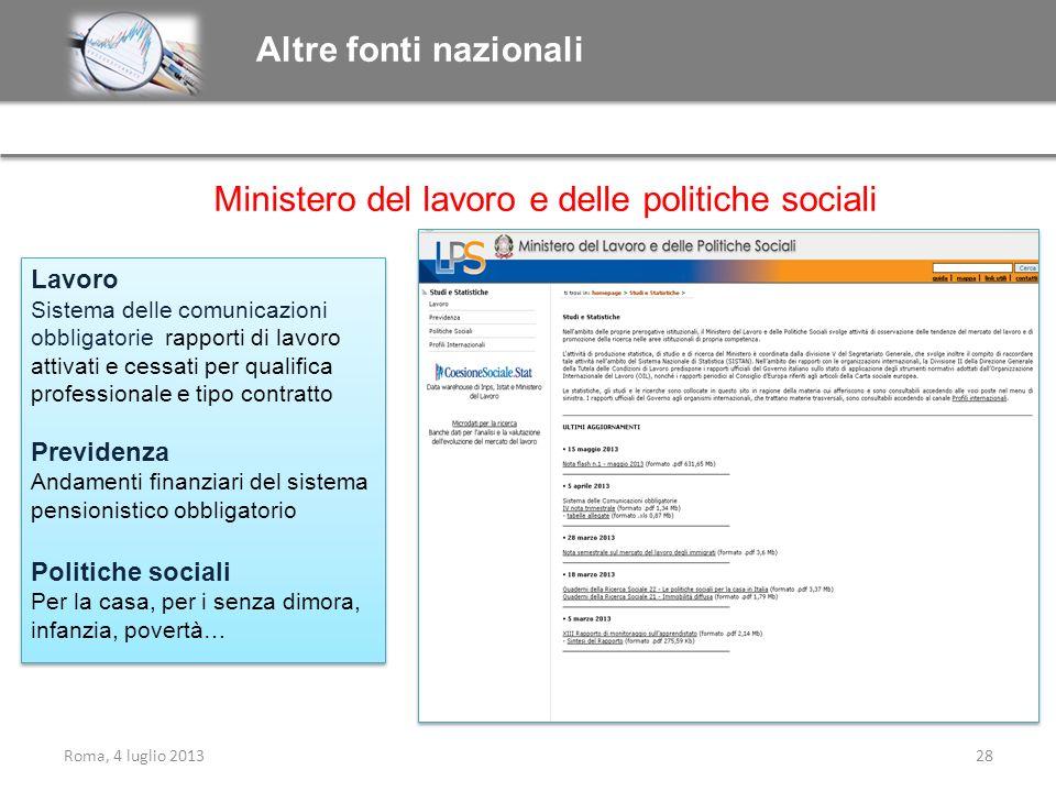 Roma, 4 luglio 201328 Ministero del lavoro e delle politiche sociali