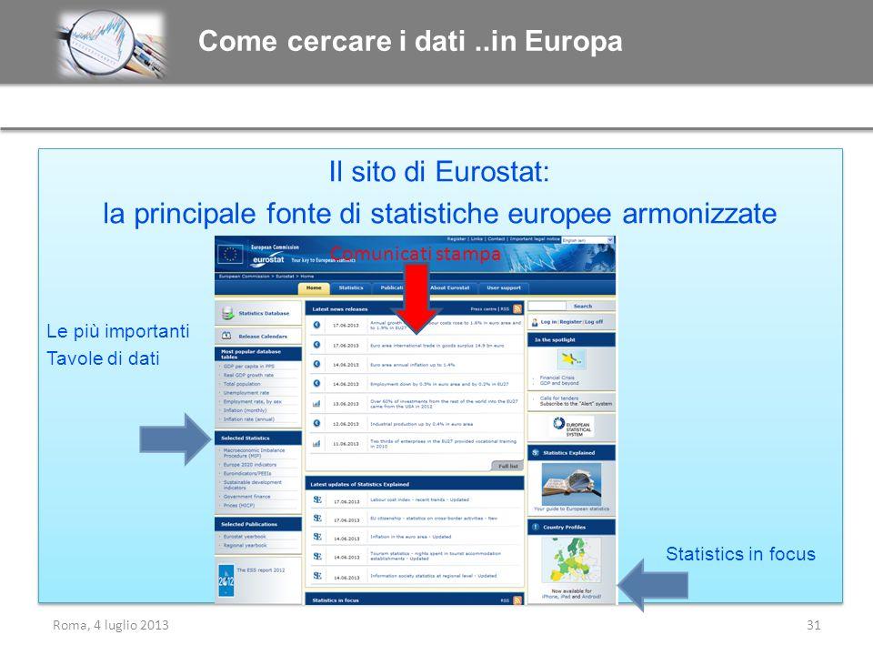 Il sito di Eurostat: la principale fonte di statistiche europee armonizzate Le più importanti Tavole di dati Il sito di Eurostat: la principale fonte