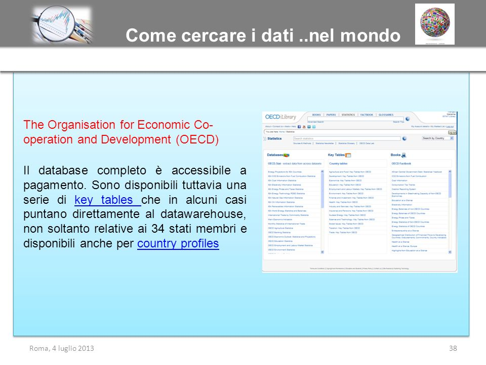 Come cercare i dati..nel mondo Roma, 4 luglio 201338 The Organisation for Economic Co- operation and Development (OECD) Il database completo è accessi