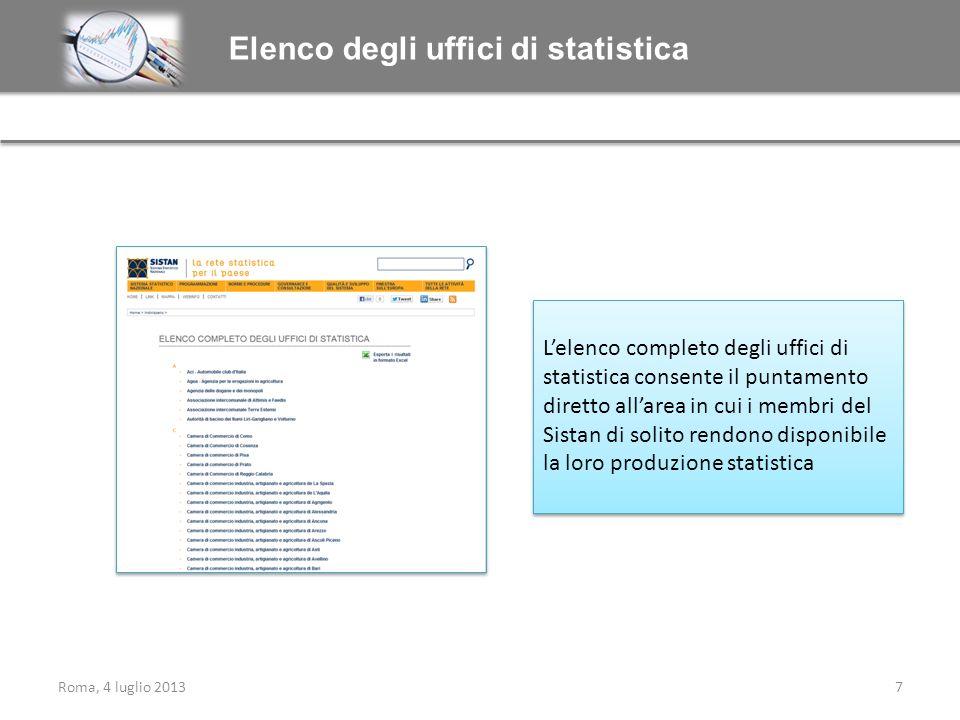 Elenco degli uffici di statistica Lelenco completo degli uffici di statistica consente il puntamento diretto allarea in cui i membri del Sistan di sol
