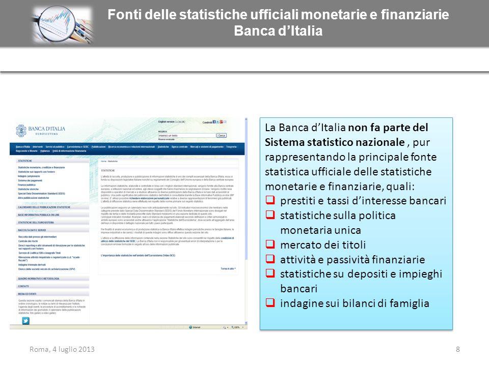 Fonti delle statistiche ufficiali monetarie e finanziarie Banca dItalia La Banca dItalia non fa parte del Sistema statistico nazionale, pur rappresent