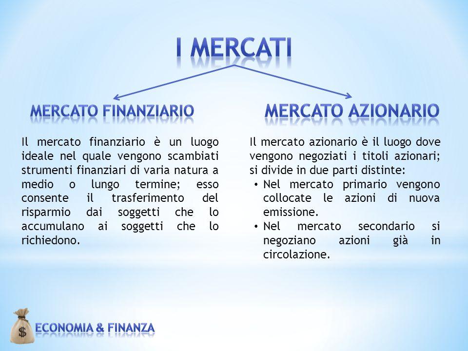 Il mercato finanziario è un luogo ideale nel quale vengono scambiati strumenti finanziari di varia natura a medio o lungo termine; esso consente il tr