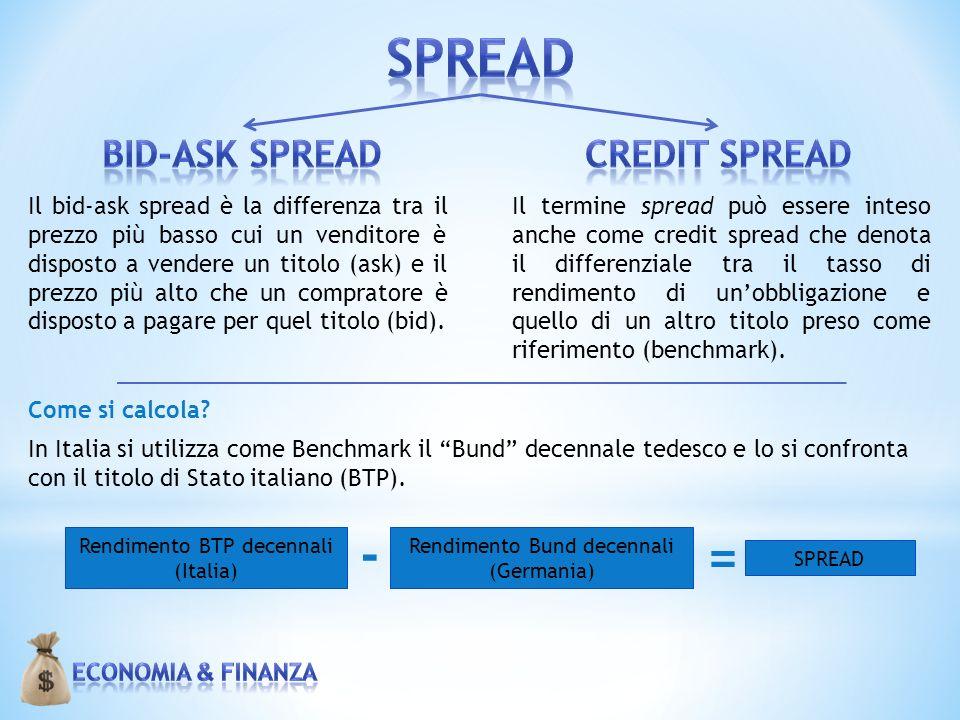 Il bid-ask spread è la differenza tra il prezzo più basso cui un venditore è disposto a vendere un titolo (ask) e il prezzo più alto che un compratore