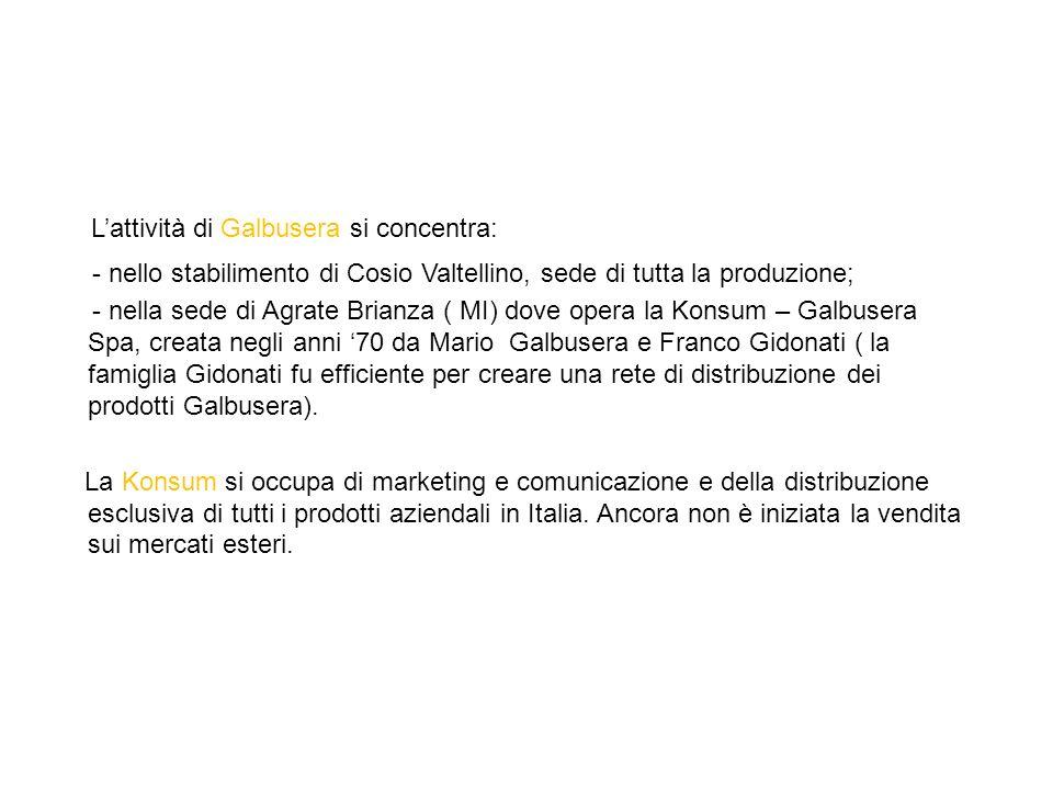 Lattività di Galbusera si concentra: - nello stabilimento di Cosio Valtellino, sede di tutta la produzione; - nella sede di Agrate Brianza ( MI) dove