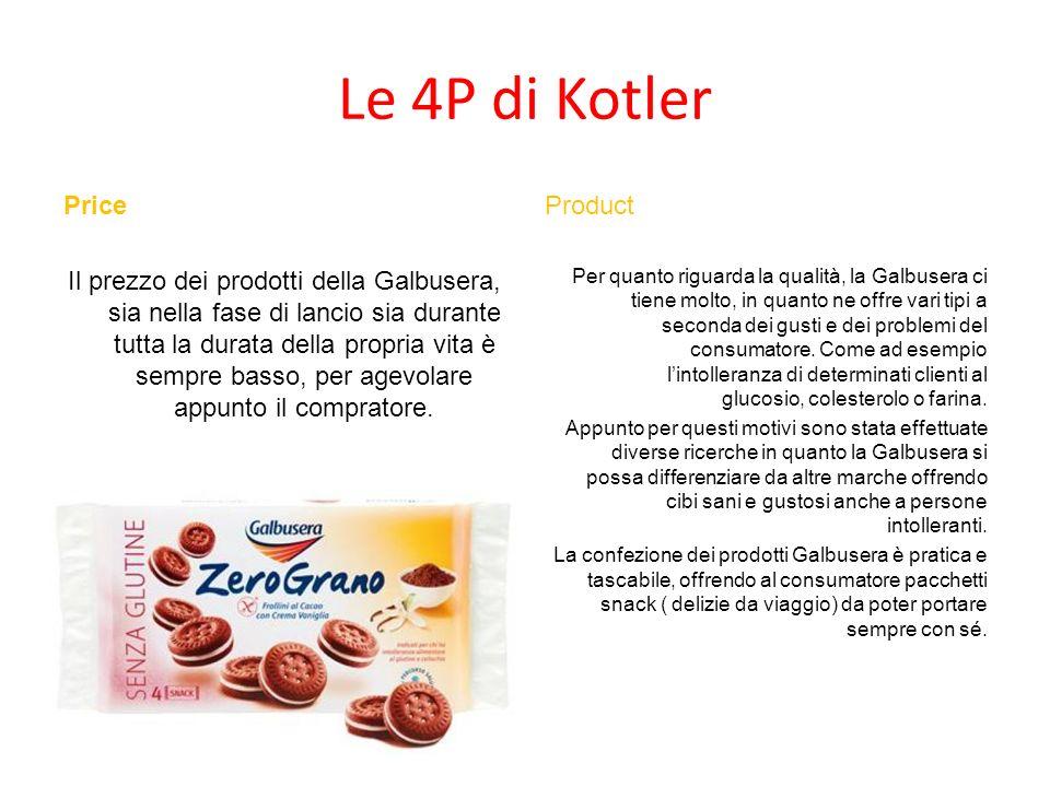 Le 4P di Kotler Price Il prezzo dei prodotti della Galbusera, sia nella fase di lancio sia durante tutta la durata della propria vita è sempre basso,