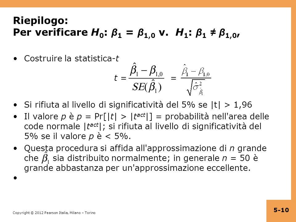 Copyright © 2012 Pearson Italia, Milano – Torino Riepilogo: Per verificare H 0 : β 1 = β 1,0 v. H 1 : β 1 β 1,0, Costruire la statistica-t t = = Si ri