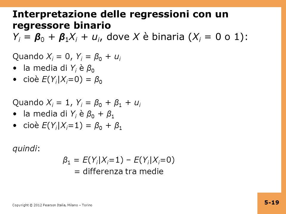 Copyright © 2012 Pearson Italia, Milano – Torino Interpretazione delle regressioni con un regressore binario Y i = β 0 + β 1 X i + u i, dove X è binar
