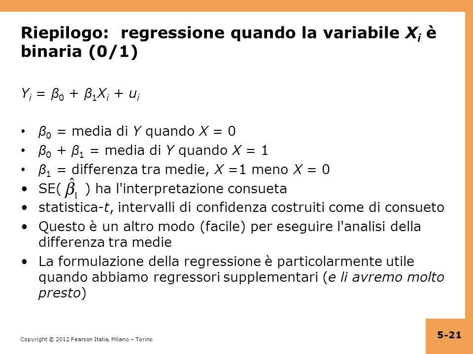 Copyright © 2012 Pearson Italia, Milano – Torino Riepilogo: regressione quando la variabile X i è binaria (0/1) Y i = β 0 + β 1 X i + u i β 0 = media