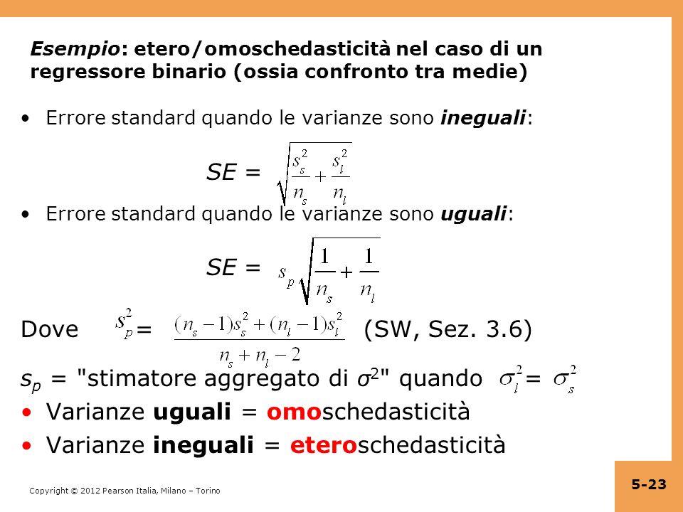 Copyright © 2012 Pearson Italia, Milano – Torino Esempio: etero/omoschedasticità nel caso di un regressore binario (ossia confronto tra medie) Errore
