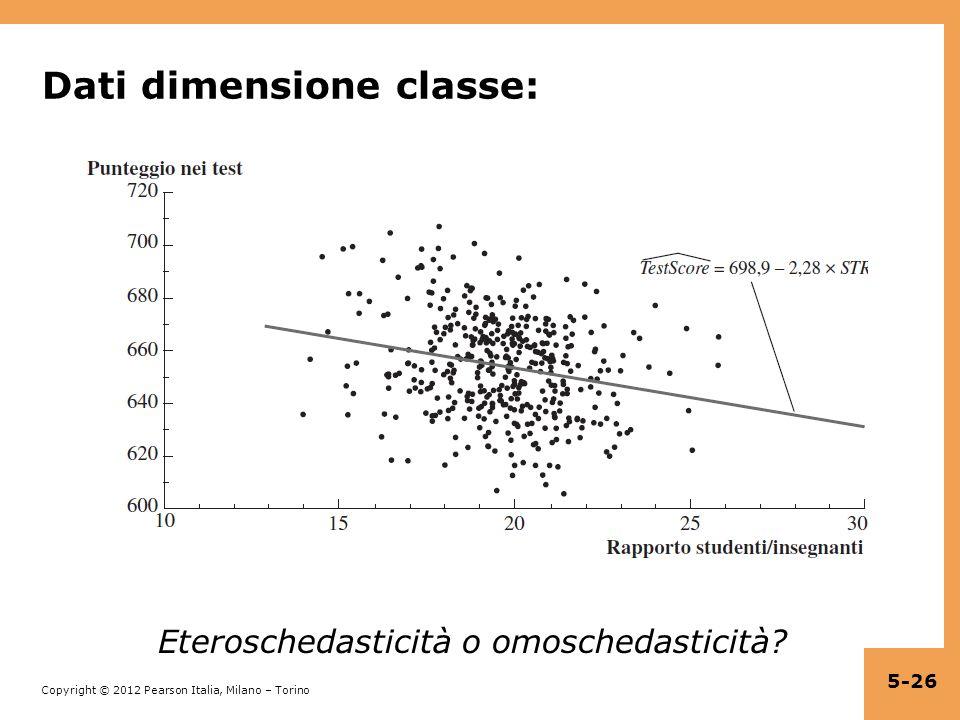 Copyright © 2012 Pearson Italia, Milano – Torino Dati dimensione classe: Eteroschedasticità o omoschedasticità? 5-26