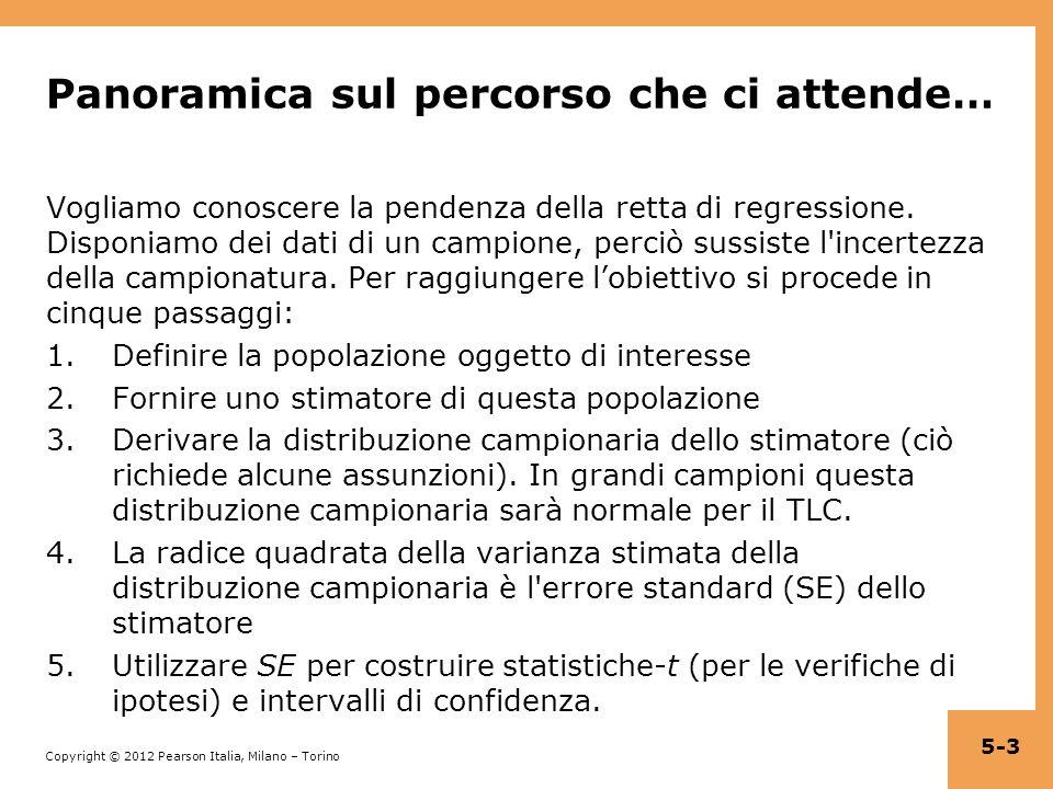 Copyright © 2012 Pearson Italia, Milano – Torino Inoltre, sotto le assunzioni 1 – 5, nell ipotesi nulla la statistica t ha una distribuzione t di Student con n – 2 gradi di libertà Perché n – 2.