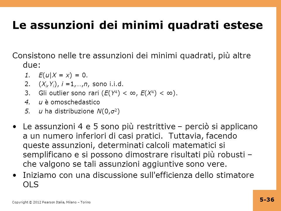Copyright © 2012 Pearson Italia, Milano – Torino Le assunzioni dei minimi quadrati estese Consistono nelle tre assunzioni dei minimi quadrati, più alt