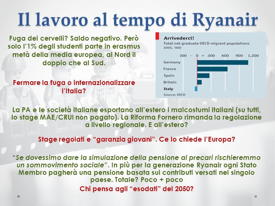 Il lavoro al tempo di Ryanair Fuga dei cervelli? Saldo negativo. Però solo l1% degli studenti parte in erasmus metà della media europea, al Nord il do