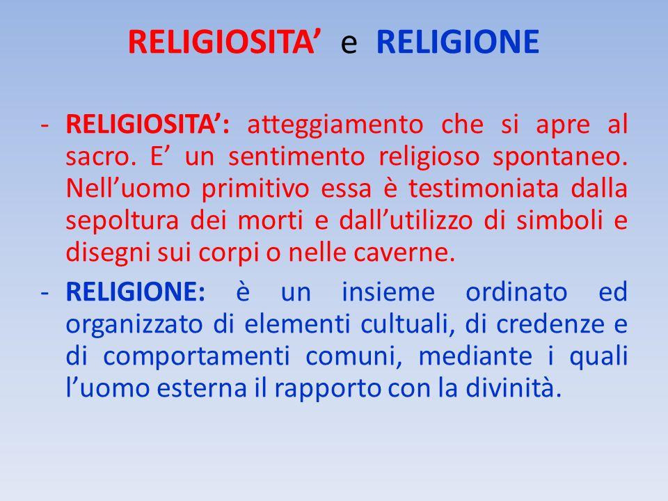 RELIGIOSITA e RELIGIONE -RELIGIOSITA: atteggiamento che si apre al sacro. E un sentimento religioso spontaneo. Nelluomo primitivo essa è testimoniata