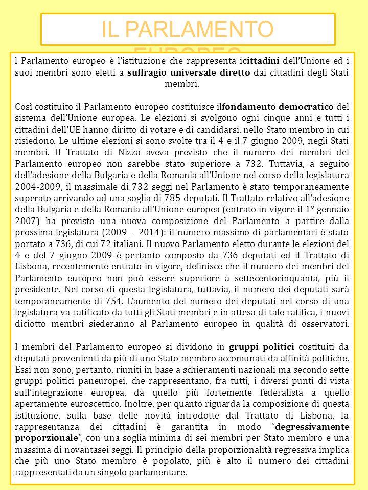 IL PARLAMENTO EUROPEO l Parlamento europeo è listituzione che rappresenta icittadini dellUnione ed i suoi membri sono eletti a suffragio universale di