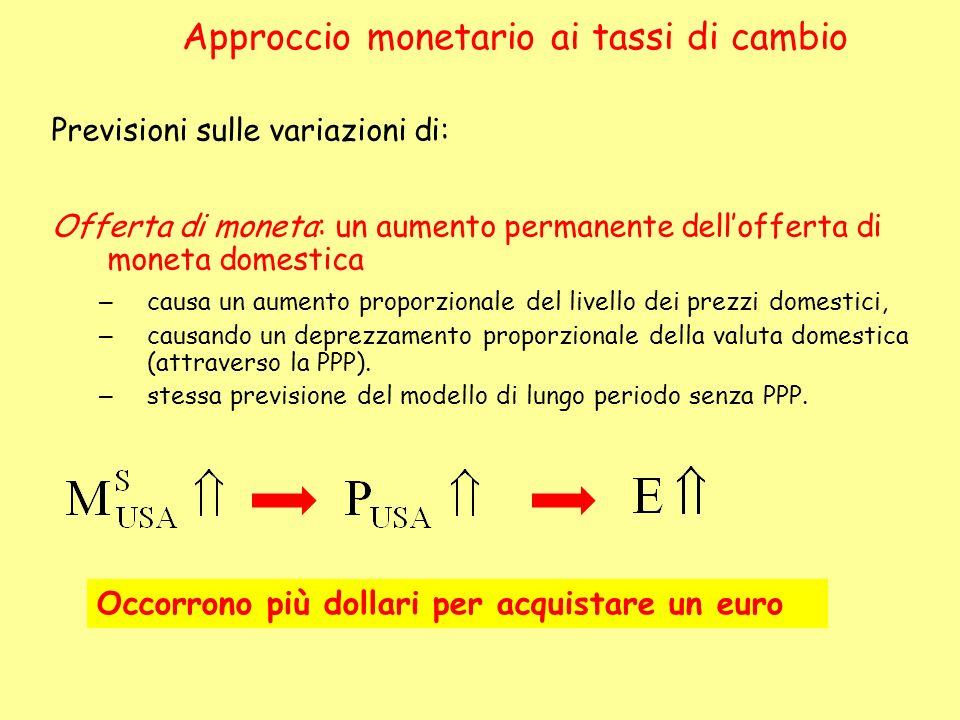 Previsioni sulle variazioni di: Offerta di moneta: un aumento permanente dellofferta di moneta domestica – causa un aumento proporzionale del livello