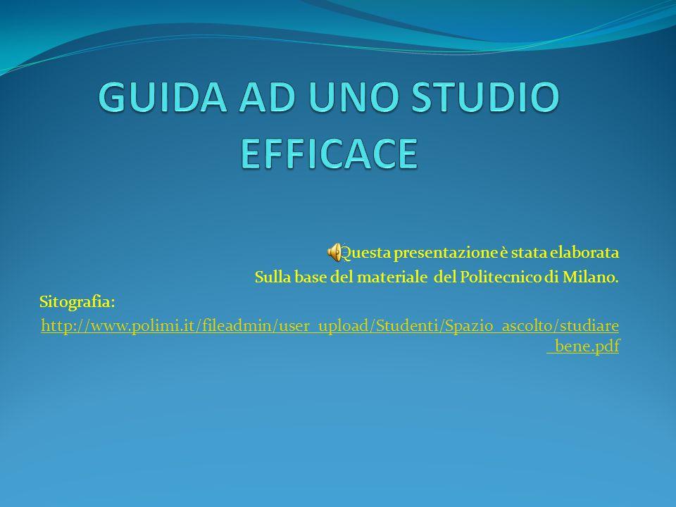 Questa presentazione è stata elaborata Sulla base del materiale del Politecnico di Milano. Sitografia: http://www.polimi.it/fileadmin/user_upload/Stud