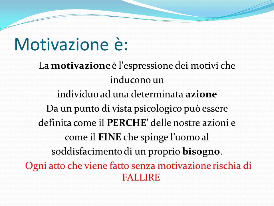 Motivazione è: La motivazione è l'espressione dei motivi che inducono un individuo ad una determinata azione Da un punto di vista psicologico può esse