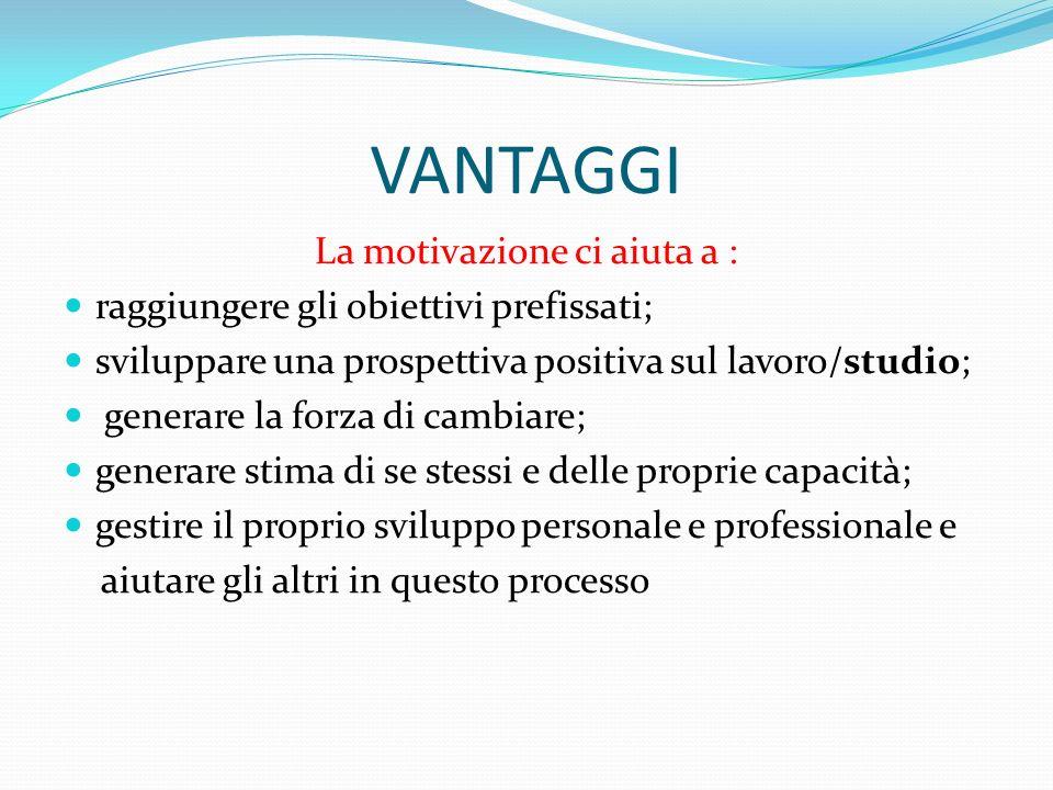 VANTAGGI La motivazione ci aiuta a : raggiungere gli obiettivi prefissati; sviluppare una prospettiva positiva sul lavoro/studio; generare la forza di