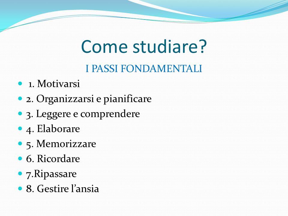 Come studiare? I PASSI FONDAMENTALI 1. Motivarsi 2. Organizzarsi e pianificare 3. Leggere e comprendere 4. Elaborare 5. Memorizzare 6. Ricordare 7.Rip