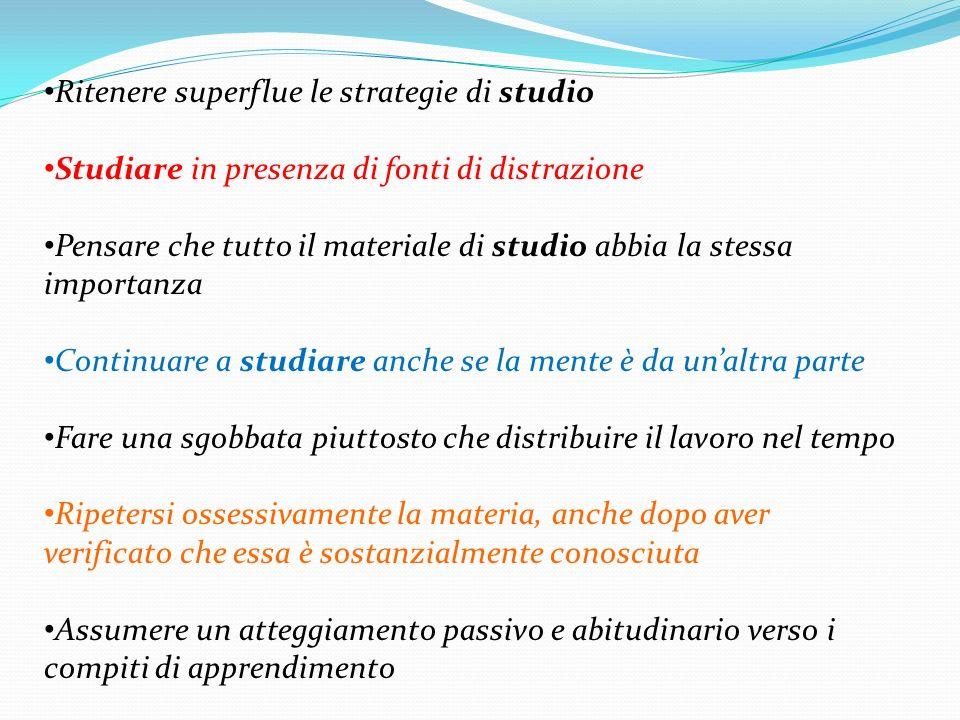Ritenere superflue le strategie di studio Studiare in presenza di fonti di distrazione Pensare che tutto il materiale di studio abbia la stessa import