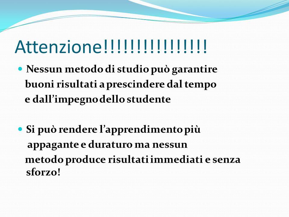 Attenzione!!!!!!!!!!!!!!!! Nessun metodo di studio può garantire buoni risultati a prescindere dal tempo e dallimpegno dello studente Si può rendere l