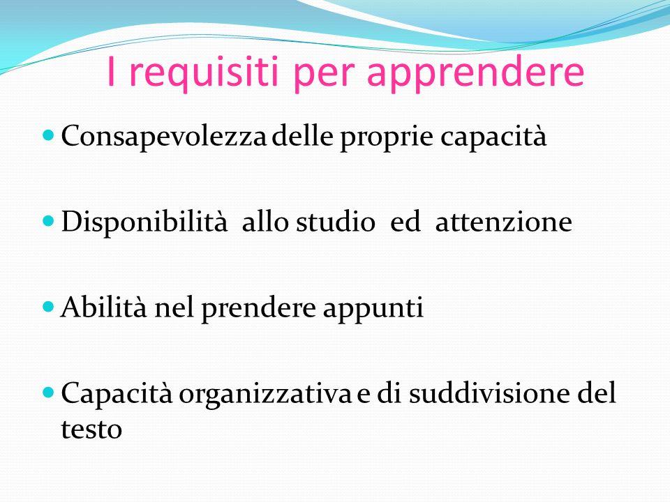 I requisiti per apprendere Consapevolezza delle proprie capacità Disponibilità allo studio ed attenzione Abilità nel prendere appunti Capacità organiz