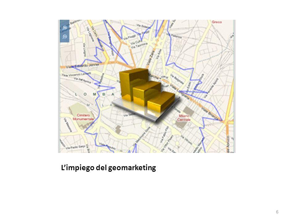 GEOMARKETING Definizione: Il Geomarketing è una tecnica di analisi che permette di trattare informazioni di mercato riferendole alla loro localizzazione sul territorio.