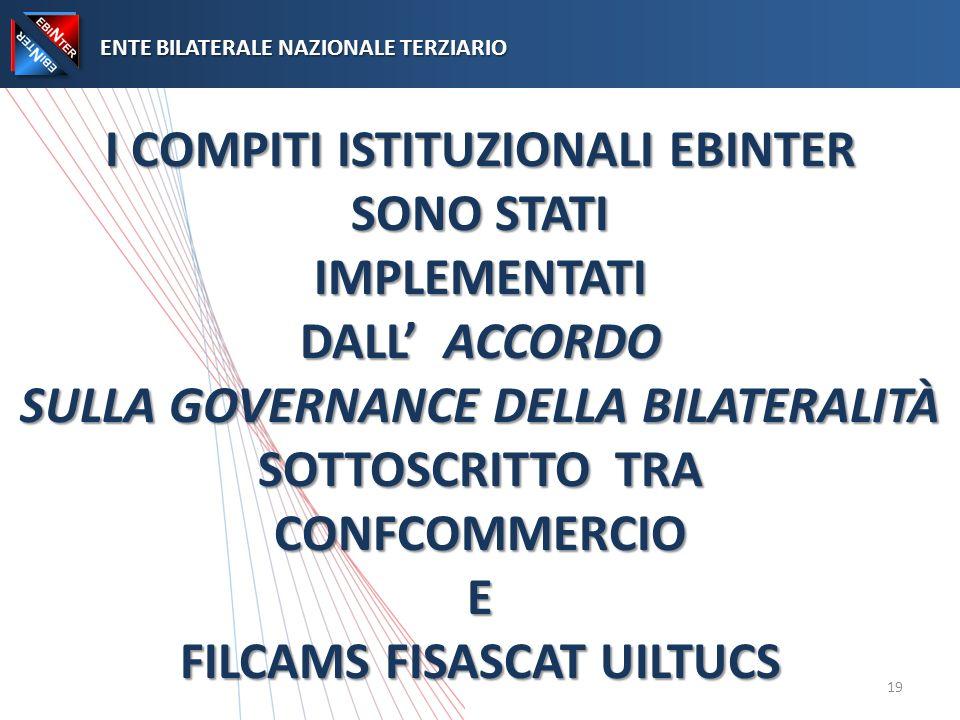 I COMPITI ISTITUZIONALI EBINTER SONO STATI IMPLEMENTATI DALL ACCORDO SULLA GOVERNANCE DELLA BILATERALITÀ SOTTOSCRITTO TRA CONFCOMMERCIO E FILCAMS FISASCAT UILTUCS ENTE BILATERALE NAZIONALE TERZIARIO ENTE BILATERALE NAZIONALE TERZIARIO 19
