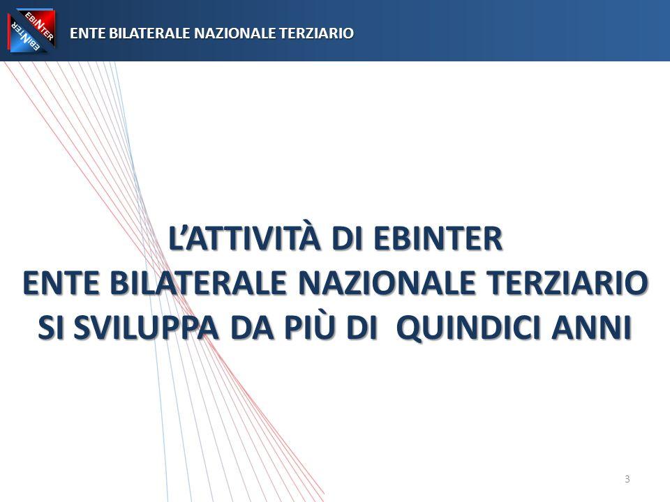 LATTIVITÀ DI EBINTER ENTE BILATERALE NAZIONALE TERZIARIO SI SVILUPPA DA PIÙ DI QUINDICI ANNI ENTE BILATERALE NAZIONALE TERZIARIO ENTE BILATERALE NAZIONALE TERZIARIO 3