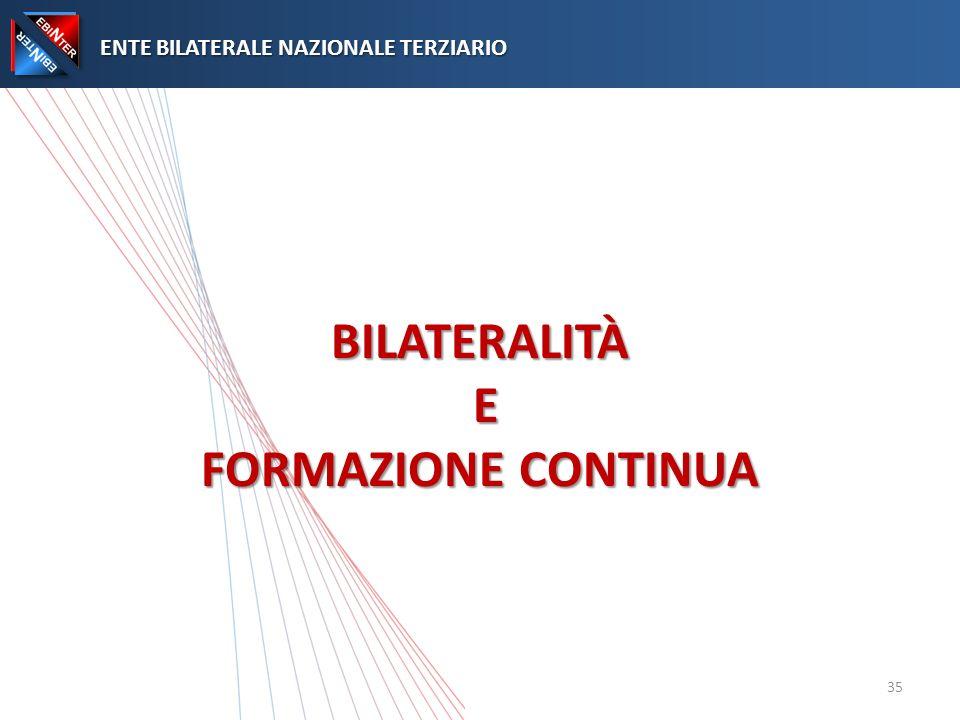 BILATERALITÀ E FORMAZIONE CONTINUA ENTE BILATERALE NAZIONALE TERZIARIO ENTE BILATERALE NAZIONALE TERZIARIO 35