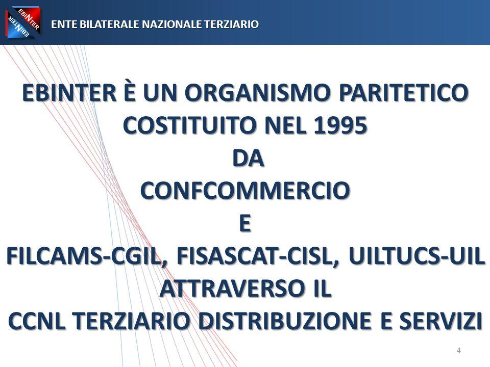 EBINTER È UN ORGANISMO PARITETICO COSTITUITO NEL 1995 DA CONFCOMMERCIO E FILCAMS-CGIL, FISASCAT-CISL, UILTUCS-UIL ATTRAVERSO IL CCNL TERZIARIO DISTRIBUZIONE E SERVIZI ENTE BILATERALE NAZIONALE TERZIARIO ENTE BILATERALE NAZIONALE TERZIARIO 4