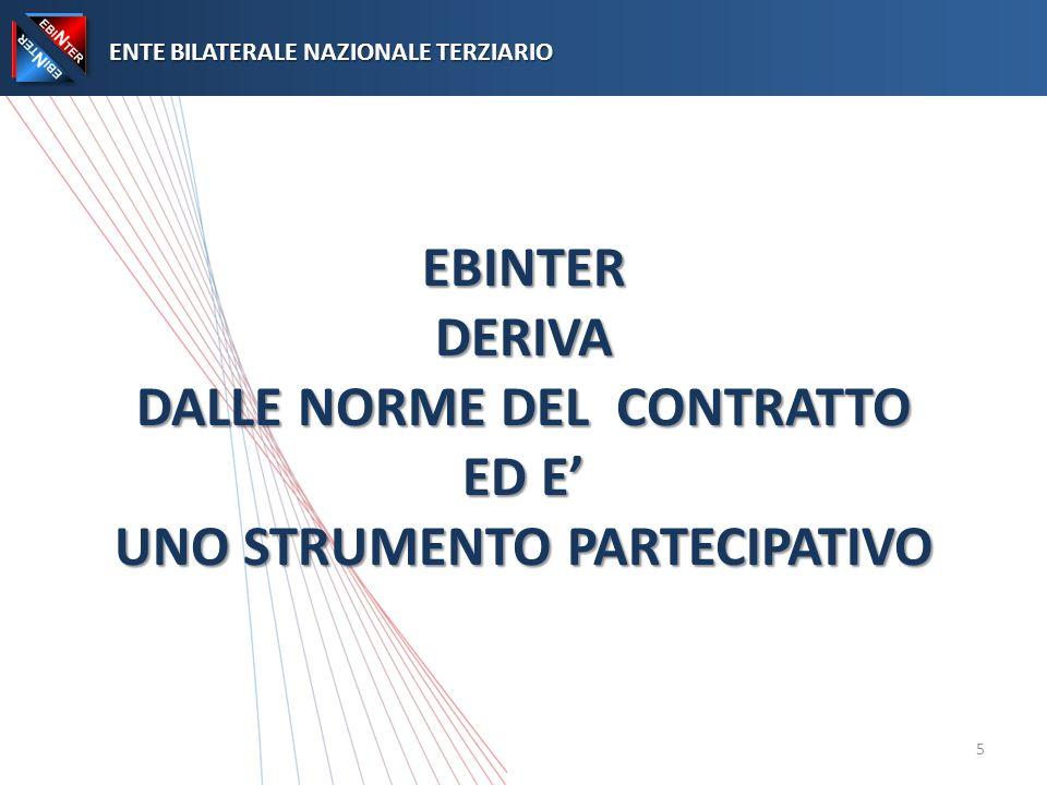 EBINTER DERIVA DALLE NORME DEL CONTRATTO ED E UNO STRUMENTO PARTECIPATIVO ENTE BILATERALE NAZIONALE TERZIARIO ENTE BILATERALE NAZIONALE TERZIARIO 5