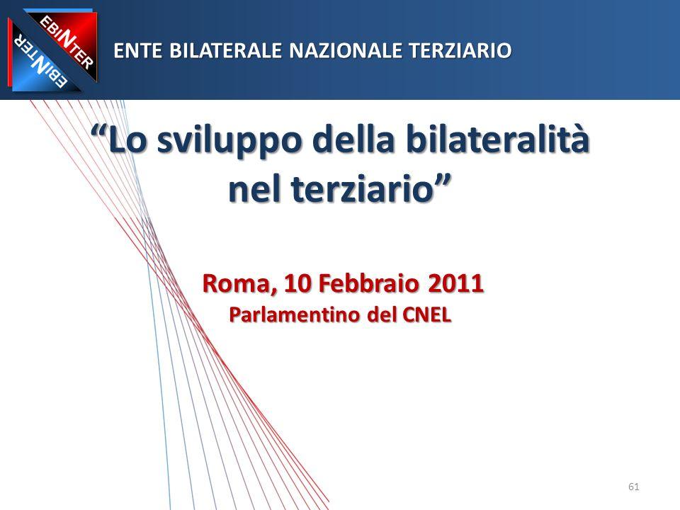 Lo sviluppo della bilateralità nel terziario Roma, 10 Febbraio 2011 Parlamentino del CNEL ENTE BILATERALE NAZIONALE TERZIARIO ENTE BILATERALE NAZIONALE TERZIARIO 61