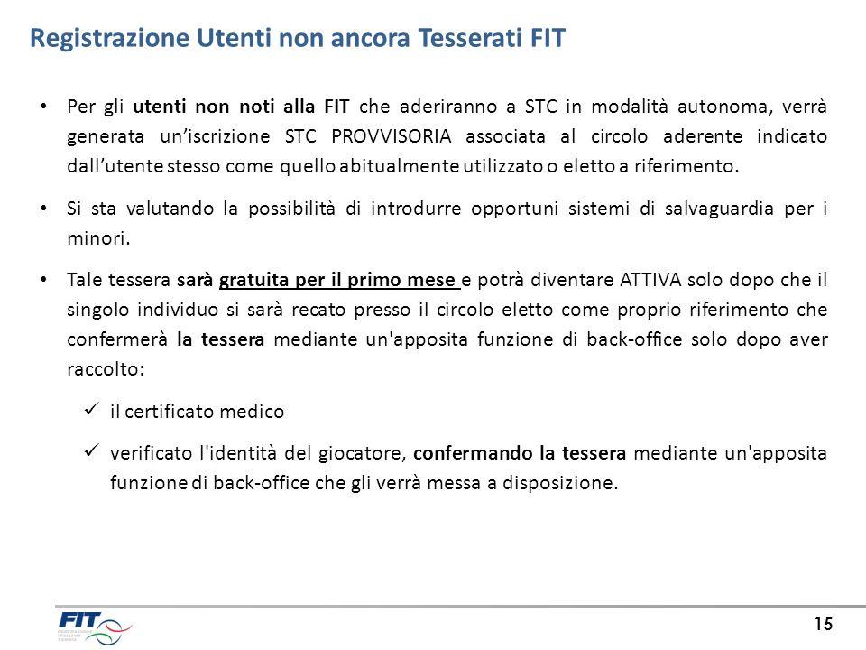 Registrazione Utenti non ancora Tesserati FIT 15 Per gli utenti non noti alla FIT che aderiranno a STC in modalità autonoma, verrà generata uniscrizio