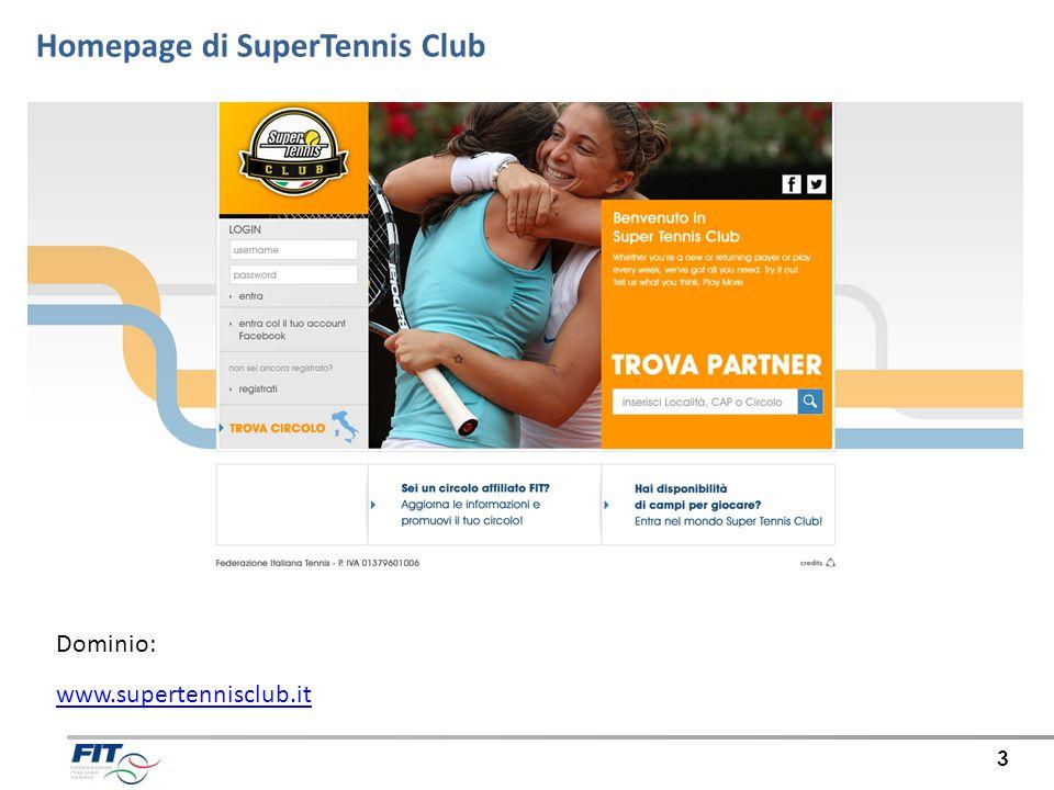 Homepage di SuperTennis Club 3 Dominio: www.supertennisclub.it