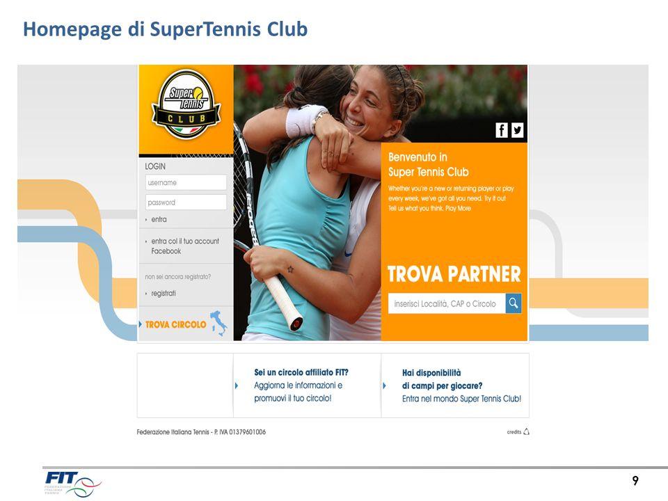 Homepage di SuperTennis Club 9