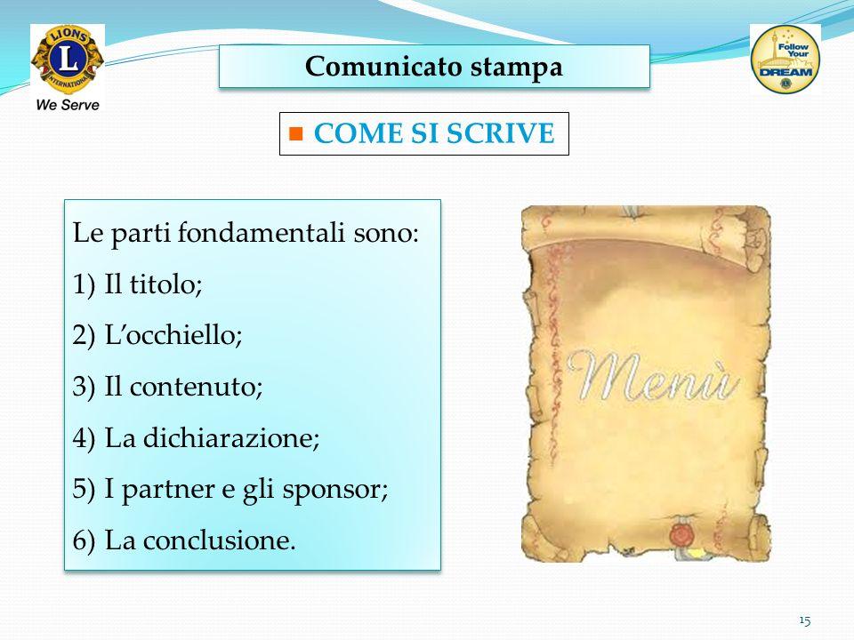Comunicato stampa 15 COME SI SCRIVE Le parti fondamentali sono: 1)Il titolo; 2)Locchiello; 3)Il contenuto; 4)La dichiarazione; 5)I partner e gli spons