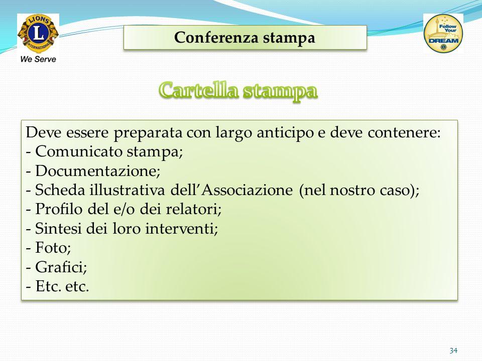 Conferenza stampa 34 Deve essere preparata con largo anticipo e deve contenere: - Comunicato stampa; - Documentazione; - Scheda illustrativa dellAssoc