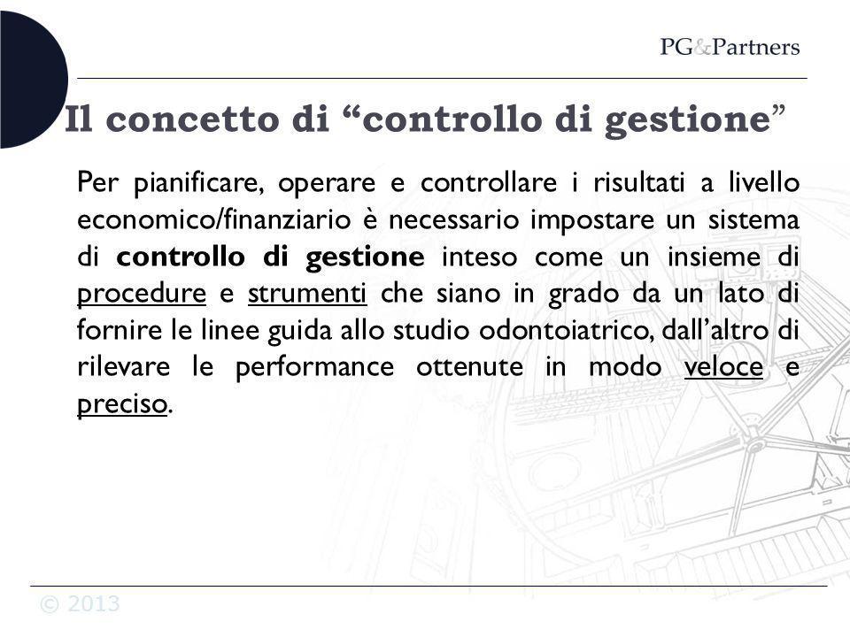 © 2013 Il concetto di controllo di gestione Per pianificare, operare e controllare i risultati a livello economico/finanziario è necessario impostare