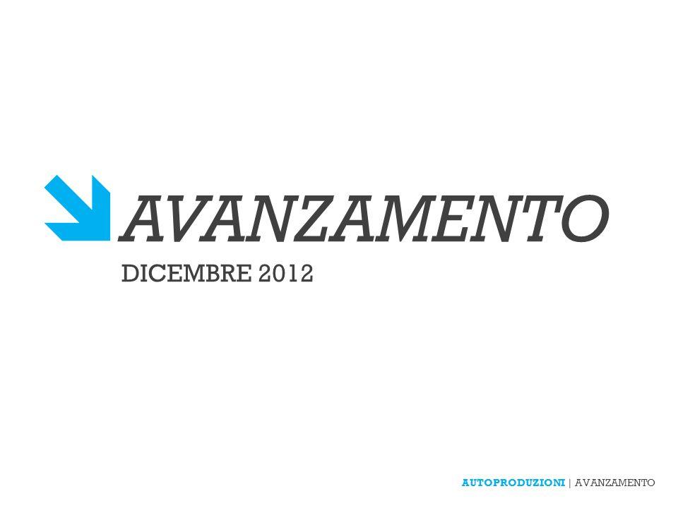 AUTOPRODUZIONI | AVANZAMENTO AVANZAMENTO DICEMBRE 2012