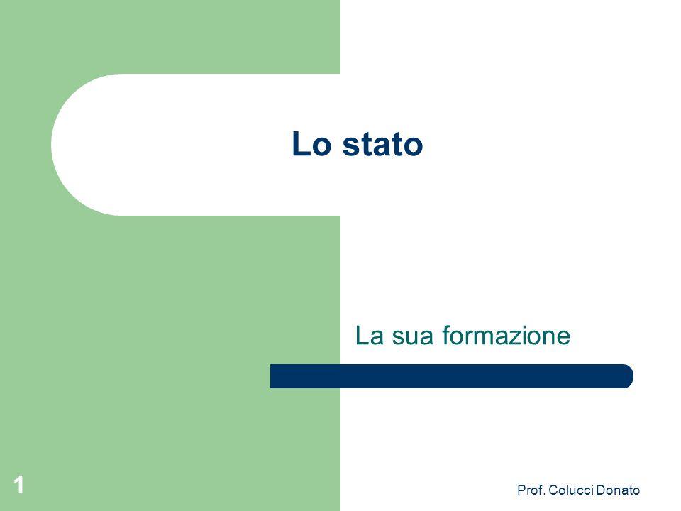 Lo stato La sua formazione 1 Prof. Colucci Donato