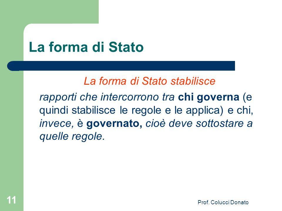 La forma di Stato La forma di Stato stabilisce rapporti che intercorrono tra chi governa (e quindi stabilisce le regole e le applica) e chi, invece, è governato, cioè deve sottostare a quelle regole.