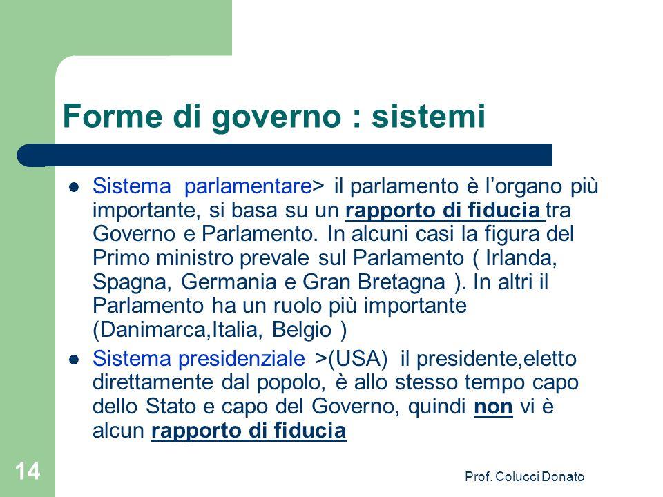 Sistema parlamentare> il parlamento è lorgano più importante, si basa su un rapporto di fiducia tra Governo e Parlamento.